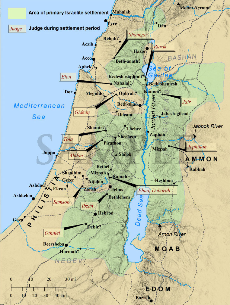 Old Testament Map of the Judges of Israel