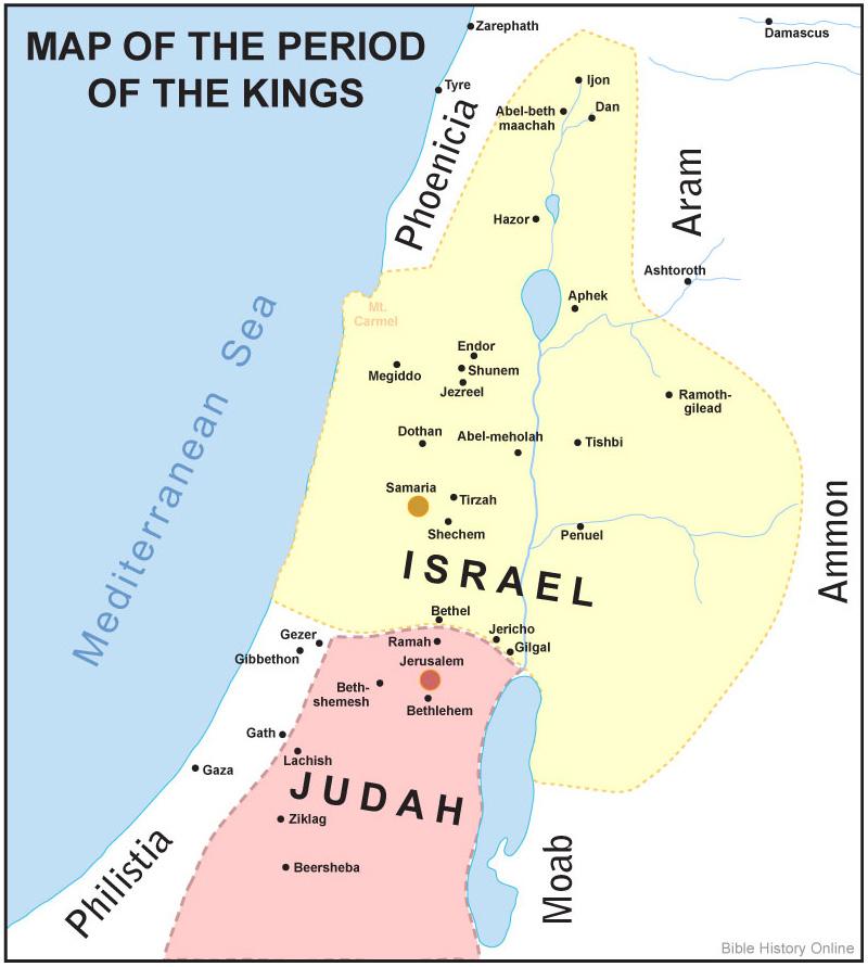 Israel divided into 2 kingdoms